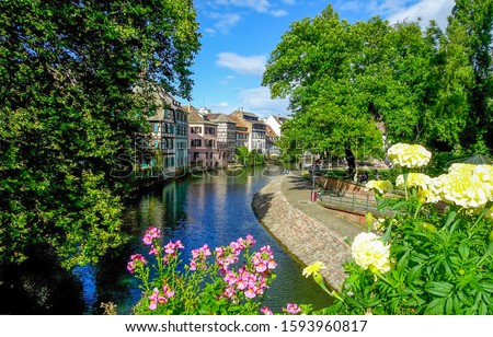 City river canal flowers scene. River canal flowers in city. Town river canal flowers. River canal flowers view #1593960817