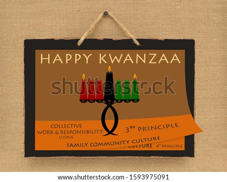 Happy Kwanzaa Day 3 (Collective Work and Responsibility is the meaning of Ujima) Day Calendar Sign hanging on canvas wall