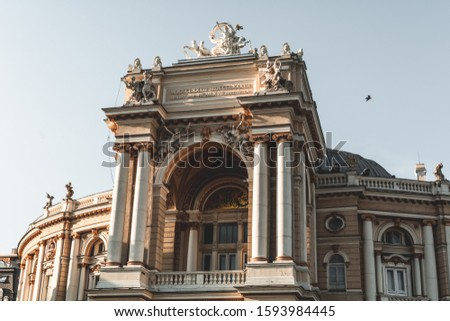 Odessa, Ukraine - August 23, 2019: Odessa Opera and Ballet Theater, Odessa, Ukraine. One of the main attractions of Odessa. Neo-Baroque facade architecture, 19th century #1593984445