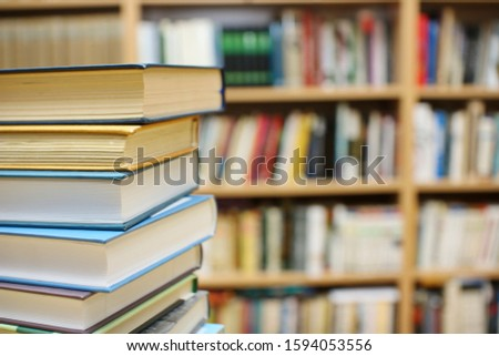 Stack of books in library #1594053556