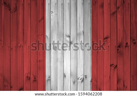 Peru flag depicted in bright paint colors on old wooden wall. Textured banner on rough background #1594062208