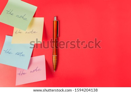 Adhesive paper stickers with the inscription on a red background #1594204138