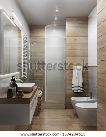 Modern Bathroom interior with wood elements; 3d ilustration, 3d rendering; 300 dpi