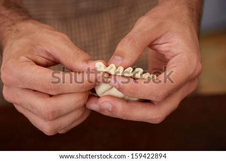 Hands preparing homemade dim-sum asian dumplings #159422894