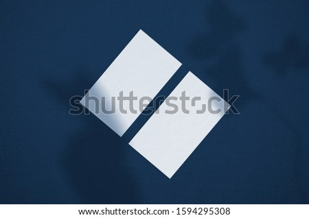 Business card Mockup. Natural overlay lighting shadows the leaves. Business cards 3.5x2 inch. Scene of Leaf Shadows. Classic Blue color. Color of the year 2020.