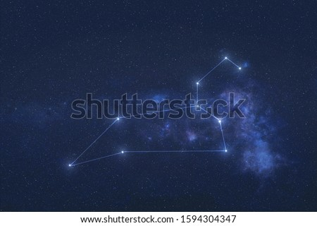 Leo Constellation stars in outer space. Zodiac Sign Leo constellation lines. Elements of this image were furnished by NASA  Royalty-Free Stock Photo #1594304347
