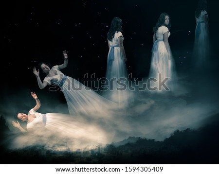 The concept of the astral plane, out-of-body experience and the afterlife Royalty-Free Stock Photo #1594305409