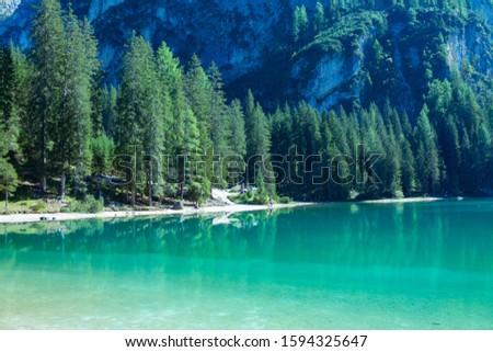 Tovel lake on Italy alps #1594325647