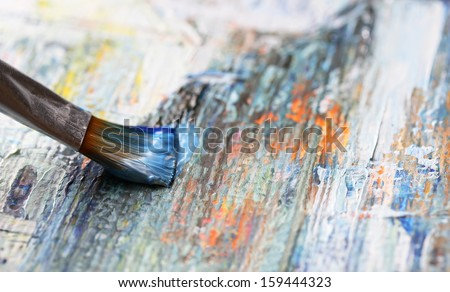 Closeup of brush and palette.  Royalty-Free Stock Photo #159444323