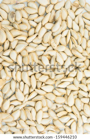 Pumpkin seed, texture on white background #159446210