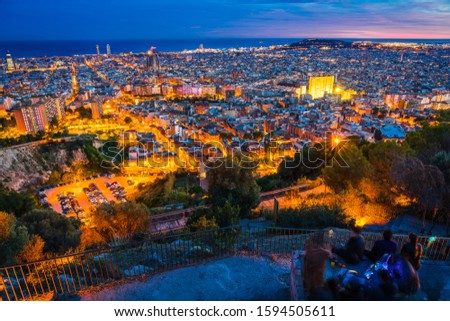 Aerial view of Barcelona at dusk. Spain #1594505611