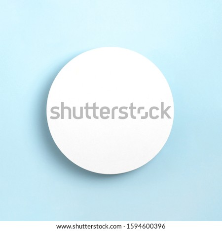 Mock up greeting card on pastel blue paper background. Top view, Place for text flat lay. Template design invitation card. #1594600396