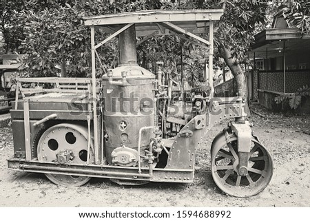 a Vintage vehicle. Vintage train used as transportain in a sugar factory #1594688992