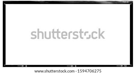 Border. Empty medium  format panoramic film template with copy space isolated on white background with work path inside the image.