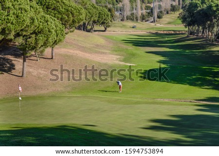 Golf player at the golf course, Sant Vicenç de Montalt, Catalonia