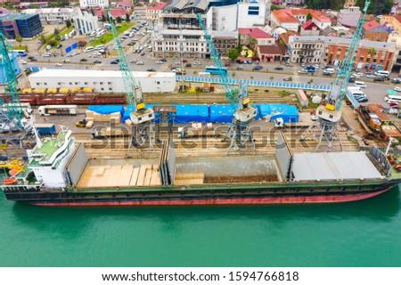 Bulk cargo ship under port crane, Georgia. #1594766818