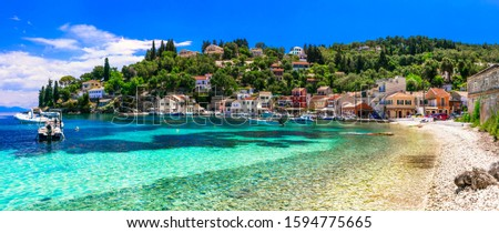 Authentic tranquil Paxos island. Loggos fishing village. Ionian islands of Greece #1594775665