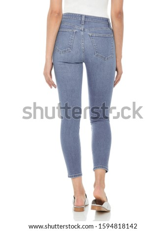 Casual blue denim for women's paired with beautiful pair of heels and white background, Casual blue denim for women's paired with beautiful pair of heels and white background #1594818142