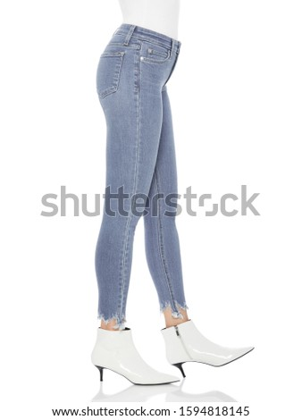 Casual blue denim for women's paired with beautiful pair of heels and white background, Casual blue denim for women's paired with beautiful pair of heels and white background #1594818145