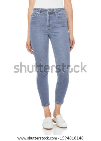 Casual blue denim for women's paired with beautiful pair of heels and white background, Casual blue denim for women's paired with beautiful pair of heels and white background #1594818148