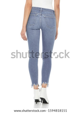 Casual blue denim for women's paired with beautiful pair of heels and white background, Casual blue denim for women's paired with beautiful pair of heels and white background #1594818151