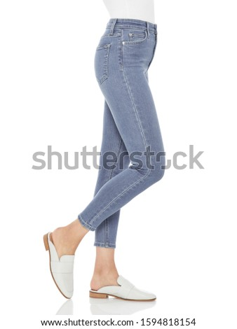 Casual blue denim for women's paired with beautiful pair of heels and white background, Casual blue denim for women's paired with beautiful pair of heels and white background #1594818154