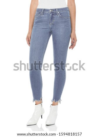 Casual blue denim for women's paired with beautiful pair of heels and white background, Casual blue denim for women's paired with beautiful pair of heels and white background #1594818157
