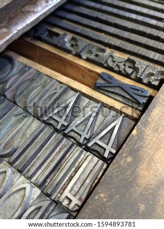 Letterpress drawer with metal type. Typography. Vintage, #1594893781