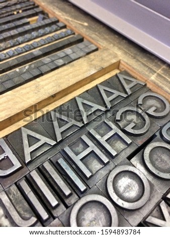 Letterpress drawer with metal type. Typography. Vintage, #1594893784