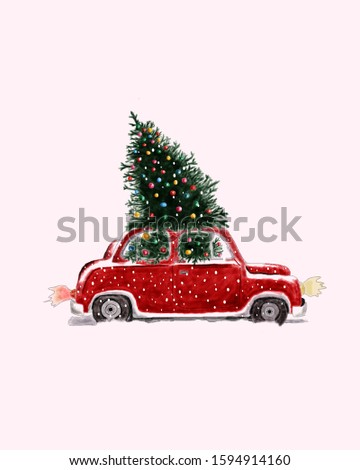 The car carries a Christmas tree on the roof.