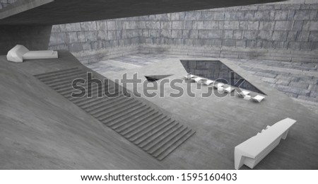 Abstract architectural concrete interior of a minimalist house with swimming pool. 3D illustration and rendering. #1595160403