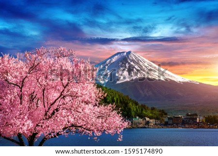 Fuji mountain and cherry blossoms in spring, Japan. #1595174890