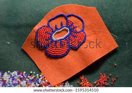 Process of making a flower beaded brooch - master class - embroidery with red and blue beads, woman hobby #1595314510