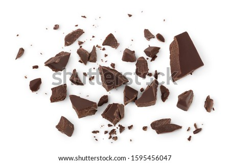 piece of chocolate isolated on white background with clipping path. . Top view. Flat lay. #1595456047