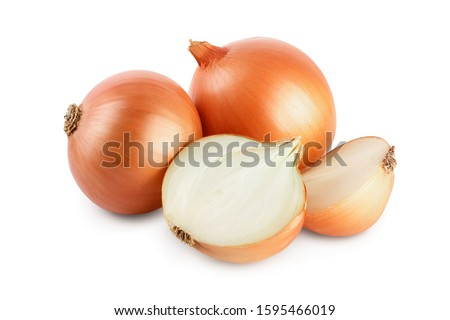 yellow onion isolated on white background close up Royalty-Free Stock Photo #1595466019