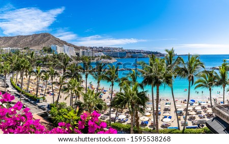 Landscape with Anfi beach and resort, Gran Canaria, Spain #1595538268