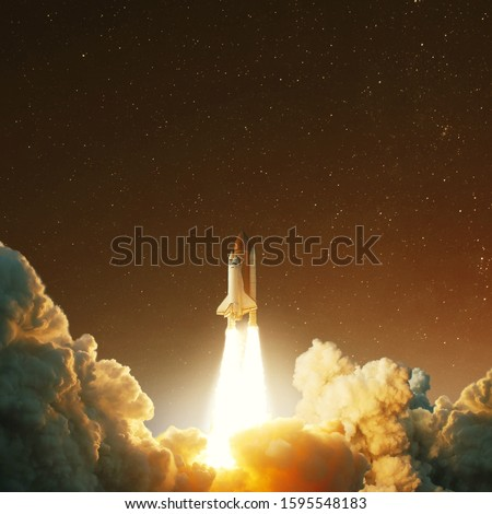 Spacecraft takes off into space on the planet Mars. Journey to the red planet. Rocket takes off  #1595548183