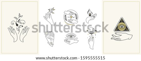 Hands set in simple flat esoteric boho style. Feminine hand logo collection with different symbol like space star planet, floral herb, moon and sun, heart love, eye, fire, drop. Vector illustration. #1595555515