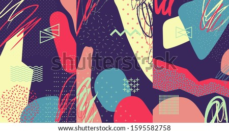Creative doodle art header with different shapes and textures. Collage. Vector #1595582758