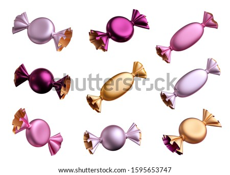 3d render of sweets, confectionery clip art, candy with metallic foil wrappings, bonbon, wrapped chocolates assortment. Objects isolated on white background, festive design elements. Sweet snack food