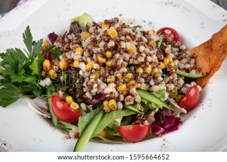 Quinoa salad, (kiona Salad)  vegetarian and diet food. Fresh healthy salad wit kinoa #1595664652