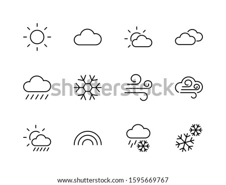 Set of Weather vector line icons. Contains symbols of the sun, clouds, snowflakes, wind, rainbow, moon and much more. Editable Stroke. 32x32 pixels. #1595669767