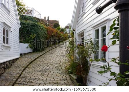 Having a walk between white wooden houses in the historic district Gamle Stavanger (Old Stavanger) in Stavanger, Norway #1595673580