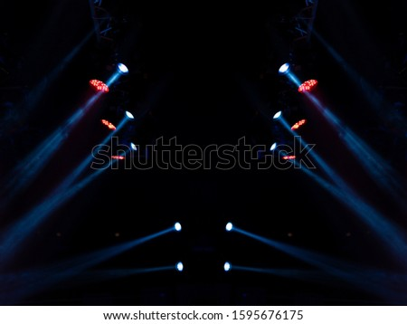 Abstract texture background for design. Stage light and smoke on stage, lighting and spotlights. #1595676175