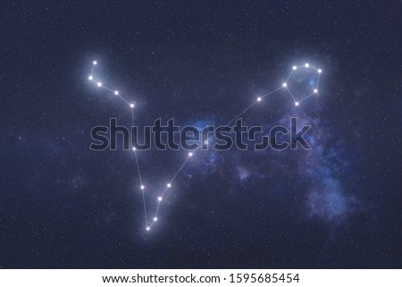 Pisces Constellation stars in outer space. Zodiac Sign Pisces constellation lines. Elements of this image were furnished by NASA  Royalty-Free Stock Photo #1595685454