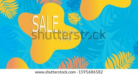 Summer sale banner template with writing 50% discount. An abstract summer with palm leaves and hibiscus flowers. Tropical background. Promo badge for your seasonal designs.   #1595686582