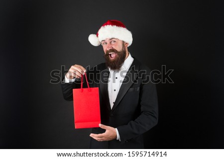 Surprise from boss. Happy businessman got xmas surprise. Bearded man hold surprise bag. Surprise for employee. New year present. Christmas Gift. Christmas is time to please, copy space. #1595714914
