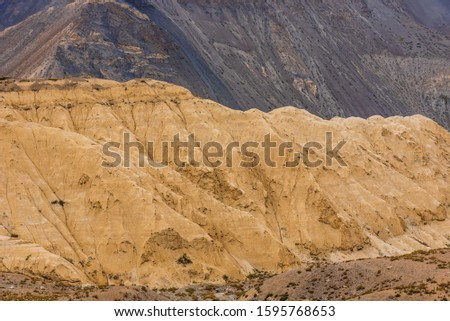 Gully erosion is a water erosion, prominent in arid cold desert landscape of Spiti due to barren steep slopes & weak unconsolidated geological surface mud rocks in Trans  Himalayas of Himachal Pradesh #1595768653