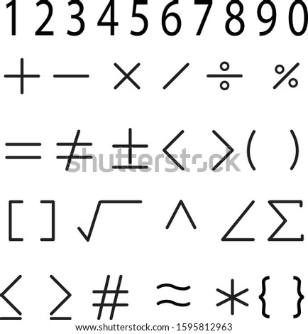 math icon on white background. flat style. math and number icon for your web site design, logo, app, UI. mathematical calculations symbol. mathematical calculations sign.  #1595812963