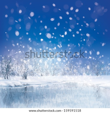 Vector of winter scene with forest background. #159591518